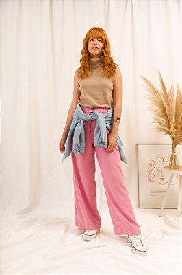 KIT Calça Pantalona Rosa Nina + Regata de Tricot Caramelo Gola Alta Charlotte