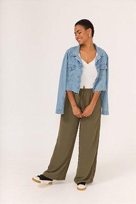 Calça Pantalona Verde Militar Nina