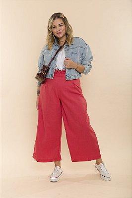 Calça Isis Pantacourt Pantalona Rosa