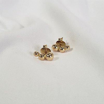 Brinco Mini Ear Cuff Bolinhas Dourado