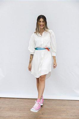 Vestido Camisa de Viscose Theodora Off White