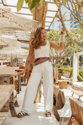 Calça Mel Pantalona Off-white