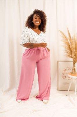 Calça Pantalona Rosa Nina