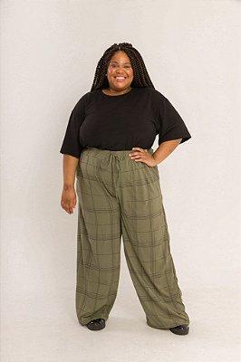 Calça Pantalona Xadrez Verde Militar