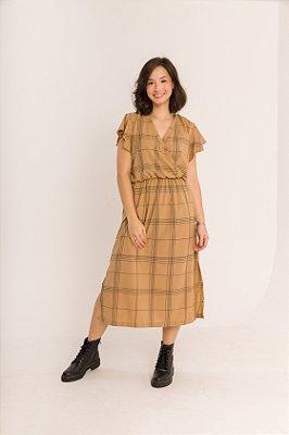 Vestido Transpassado com Bolsos Mayumi Xadrez Bege