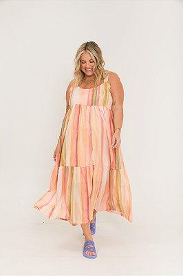 Vestido Dona Zeli Alças de Amarrar Listrado Aquarelado
