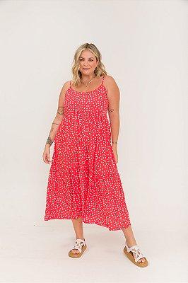 Vestido Ramona Alças Midi Poá Vermelho