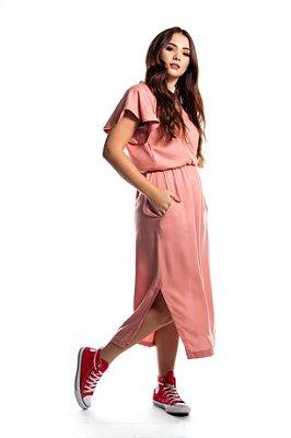 Vestido Midi Transpassado Rose