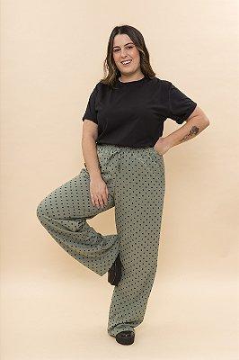 Calça Pantalona Poá Verde
