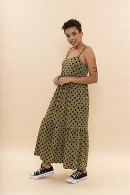 PRÉ-VENDA - Vestido Ramona Midi Poá Verde