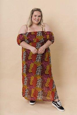 Vestido Jenni Maxi Ombro a Ombro Mix Flores