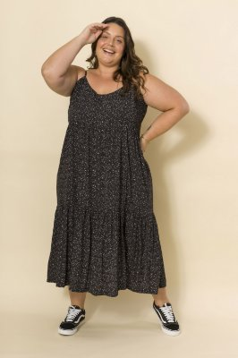 Vestido Ramona Alças Mini Poá Preto