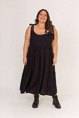 Vestido Dona Zeli Alças de Amarrar Preto