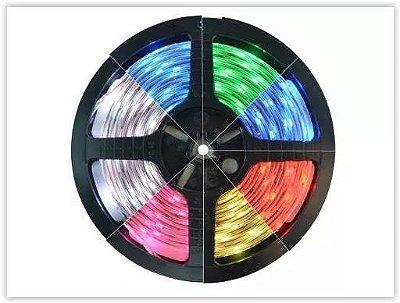 FITA LED RGB 3528 300 LEDS DUPLA FACE 5 METROS COLORIDO+CONTROLE+FONTE