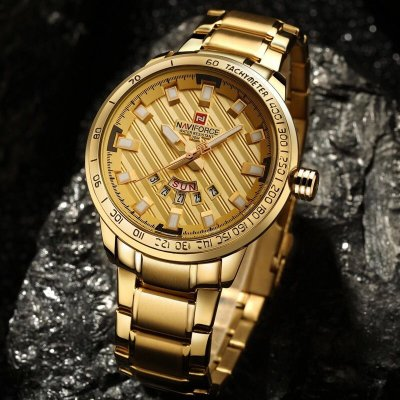 Relógio Dourado Naviforce Luxo
