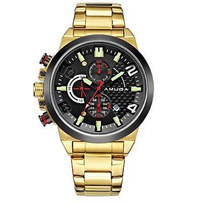 Relógio Dourado Amuda Sport