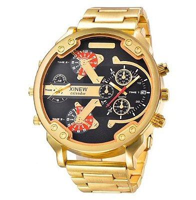 Relógio Dourado XI Calendar