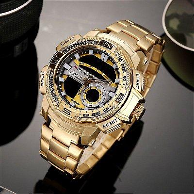 8b4d357f236 Relógio Dourado Mizums Sport