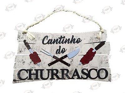 Placa Cantinho do Churrasco em MDF