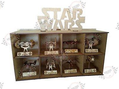 Suporte + Kit com 8 Mini Naves Star Wars em MDF