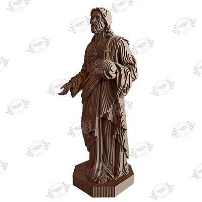 Jesus Sagrado Coração de Jesus em MDF 3D - Altura 51 cm