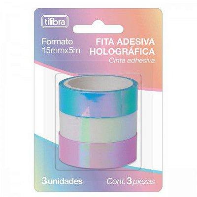 Fita Adesiva TILIBRA Washi Tape 15mm x 5m - Holográfica c/ 3 Unidades