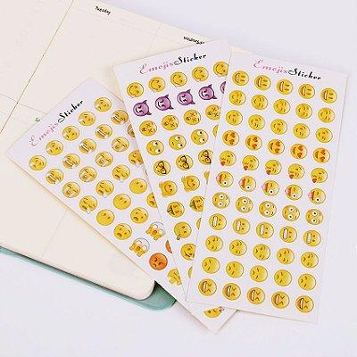 Adesivos de Emoji - 3 Cartelas