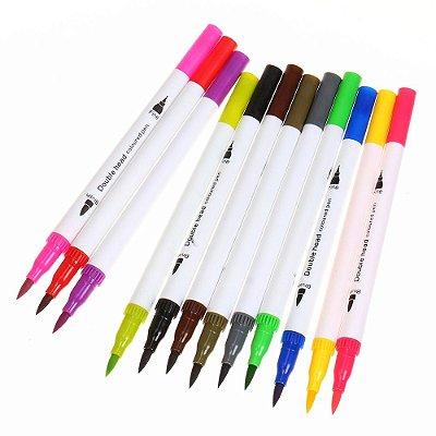 Kit Pincéis Brush Pen com Dupla Ponta - 12 Cores
