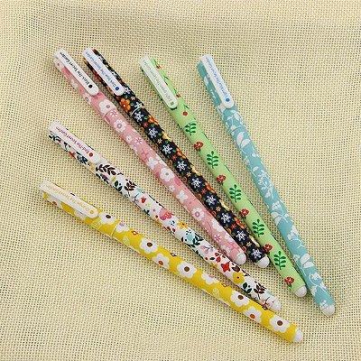 Kit Caneta Em Gel Colorida Floral - 6 Cores