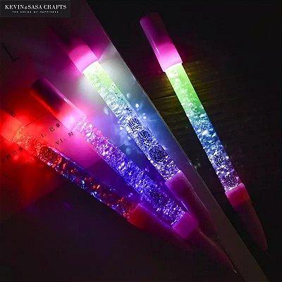 Caneta Em Gel Glitter Que Acende