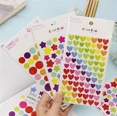 Adesivos Coloridos - 3 cartelas
