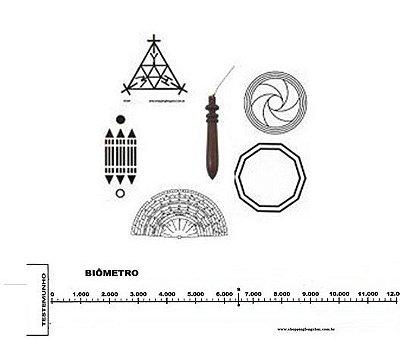 Kit Básico Radiestesista com 4 Placas, 1 Relógio, 1 Biômetro e 1 Pêndulo de Madeira com chumbo.