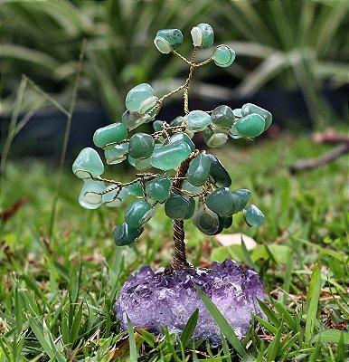 Árvore de Quartzo Verde com Base de Ametista 10 cm