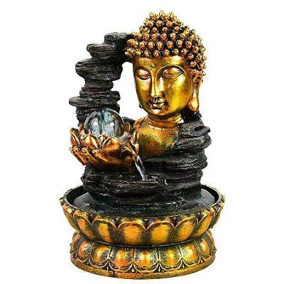 Fonte Buda Flor de Lotus com esfera de vidro