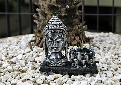 Incensário Cabeça de Buda Flor - Prata