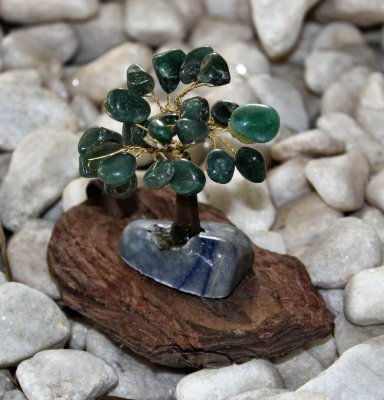 Árvore  Quartzo Verde com Base de quartzo azul