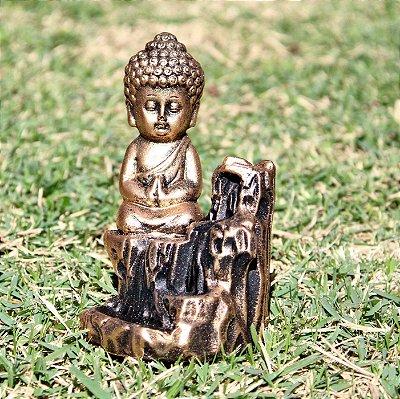 Incensário Cascata Buda Dourado