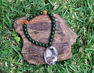 Japamala 27 contas de semente de rudraksha com cristal verde