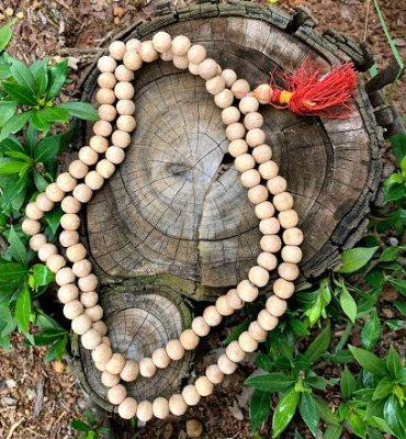 Japamala Indiano 108 contas madeira  (IMPORTADO)