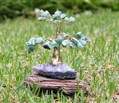 Árvore de Esmeralda com Base de Ametista 11 cm - Pedra do ano de 2020
