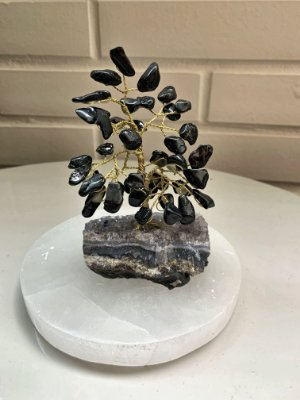 Árvore de Turmalina Negra com Base de Ametista 10 cm