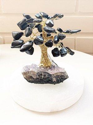 Árvore Dourada de Turmalina Negra com Base de Ametista 11 cm