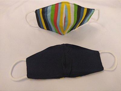 Mascara de Tecido Dupla Face Adulto Unissex - Estampa Listrada/Azul