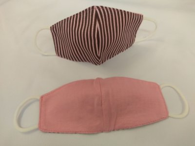 Mascara de Tecido Dupla Face Infantil -Tamanho P - Estampa Listrada Rosa - Ref. 163