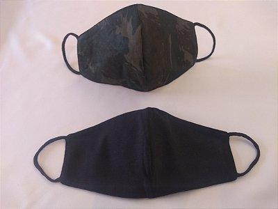 Mascara de Tecido Dupla Face Adulto Unissex - Estampa Camuflada