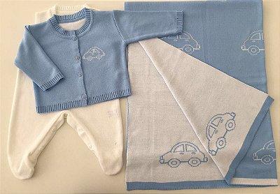 Conjunto Casaco e Salopete com Manta Carrinho Azul Claro e Branco