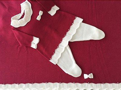 Conjunto Vestido e Calça com Manta Cereja