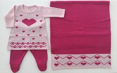 Conjunto Vestido e Calça com Manta Coração Rosa Pink