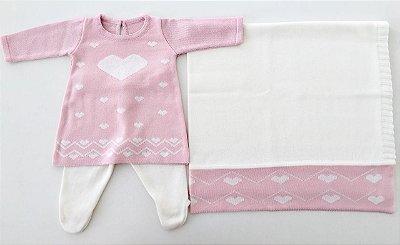 Conjunto Vestido e Calça com Manta Coração Rosa Bebê