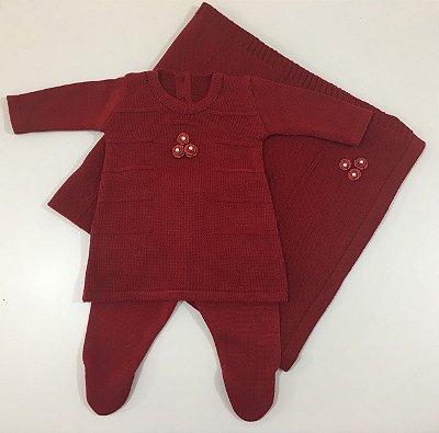 Conjunto Vestido e Calça com Manta Bordado Vermelho Bordô